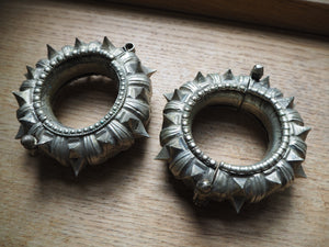 Vintage Rare Indian Tribal Orissa Spiked Cuff Pair x 2