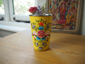 Hand Painted Kashmir Enamelware Floral Tumbler Cup