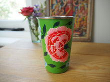 Load image into Gallery viewer, Hand Painted Kashmir Enamelware Floral Tumbler Cup