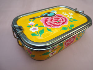 Hand Painted Kashmir Enamelware Floral Kitsch Glamping Lunch Box