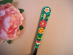 Hand Painted Kashmir Enamelware Floral Kitsch Kitchen Large Serving Spoon