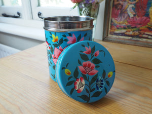 Hand Painted Kashmir Enamelware Large Floral Spice Tea Tin