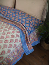 Load image into Gallery viewer, Indian Hand Block Printed Gold Printed Stuffed Cotton Quilt