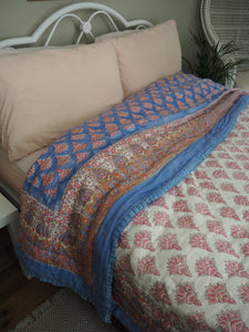 Indian Hand Block Printed Gold Printed Stuffed Cotton Quilt