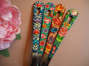 Hand Painted Kashmir Enamelware Floral Kitsch Kitchen Large Serving Spoon Set x 4