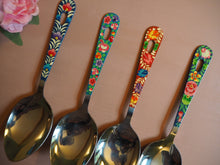 Load image into Gallery viewer, Hand Painted Kashmir Enamelware Floral Kitsch Kitchen Large Serving Spoon Set x 4