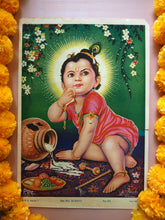 Load image into Gallery viewer, Vintage Hindu Krishna Milk Thief Devotional Puja Print Lithograph