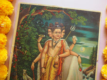 Load image into Gallery viewer, Vintage Hindu Dattatreya Devotional Puja Print Lithograph