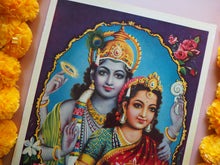 Load image into Gallery viewer, Vintage Hindu Vishnu Framed Devotional Puja Lithograph