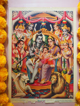Load image into Gallery viewer, Vintage Hindu Ganesh, Shiva & Parvati Devotional Puja Print Lithograph