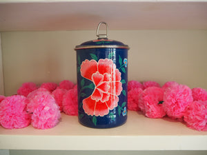 Hand Painted Kashmir Enamelware Floral Kitsch Tea Caddy