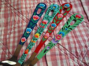 Hand Painted Kashmir Enamelware Floral Kitsch Kitchen Utensil Set x 4