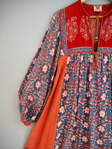 Vintage Indian Hand Block Printed Anokhi Cotton Dress