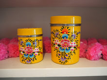 Load image into Gallery viewer, Hand Painted Kashmir Enamelware Large Floral Spice Tea Tin Set x 2