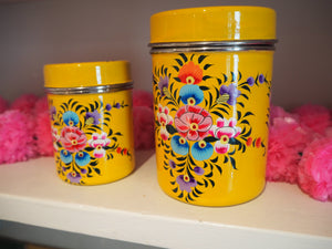 Hand Painted Kashmir Enamelware Large Floral Spice Tea Tin Set x 2