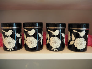 Hand Painted Kashmir Enamelware Large Floral Spice Tea Tin Set x 4
