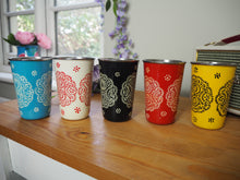 Load image into Gallery viewer, Hand Painted Kashmir Enamelware Floral Kitsch Large Tumbler Set x 5