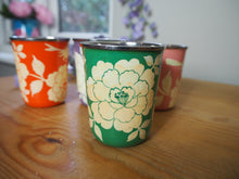 Load image into Gallery viewer, Hand Painted Kashmir Enamelware Floral Kitsch Small Tumbler Set x 4