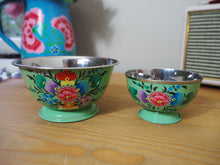 Load image into Gallery viewer, Hand Painted Kashmir Enamelware Floral Ice Cream Bowls x 2