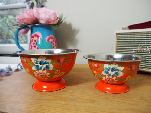 Hand Painted Kashmir Enamelware Floral Ice Cream Bowls x 2