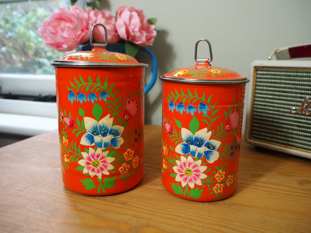 Hand Painted Kashmir Enamelware Floral Kitsch Tea Caddy Set x 2