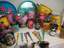 Load image into Gallery viewer, Hand Painted Kashmir Enamelware Floral Kitsch Kitchen Steelware Sample Pack