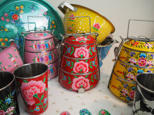 Hand Painted Kashmir Enamelware Floral Kitsch Kitchen Steelware Sample Pack
