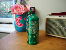 Load image into Gallery viewer, Hand Painted Kashmir Enamelware Floral Water Bottle