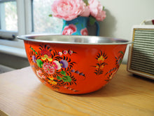 Load image into Gallery viewer, Hand Painted Kashmir Enamelware Floral Fruit Baking Mixing Bowl