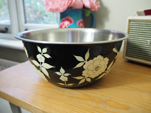 Hand Painted Kashmir Enamelware Floral Fruit Baking Mixing Bowl