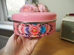 Hand Painted Kashmir Enamelware Floral Kitsch Biscuit Tin