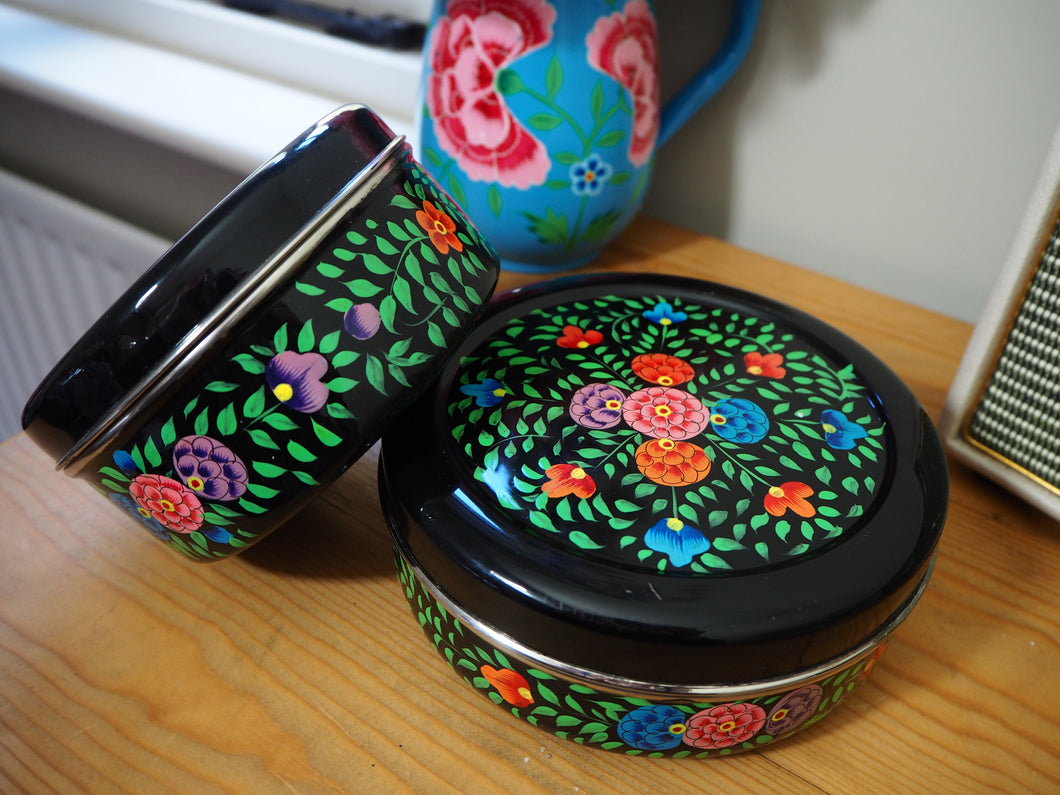 Hand Painted Kashmir Enamelware Floral Kitsch Biscuit Tin Set