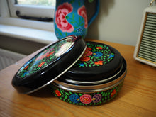 Load image into Gallery viewer, Hand Painted Kashmir Enamelware Floral Kitsch Biscuit Tin Set