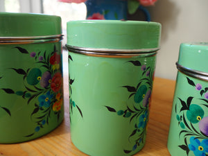 Hand Painted Kashmir Enamelware Floral Kitsch Tea Coffee Sugar Caddy Set x 4