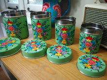 Load image into Gallery viewer, Hand Painted Kashmir Enamelware Floral Kitsch Tea Coffee Sugar Caddy Set x 4