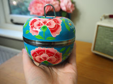 Load image into Gallery viewer, Hand Painted Kashmir Enamelware Floral Apple Jewellery Tin