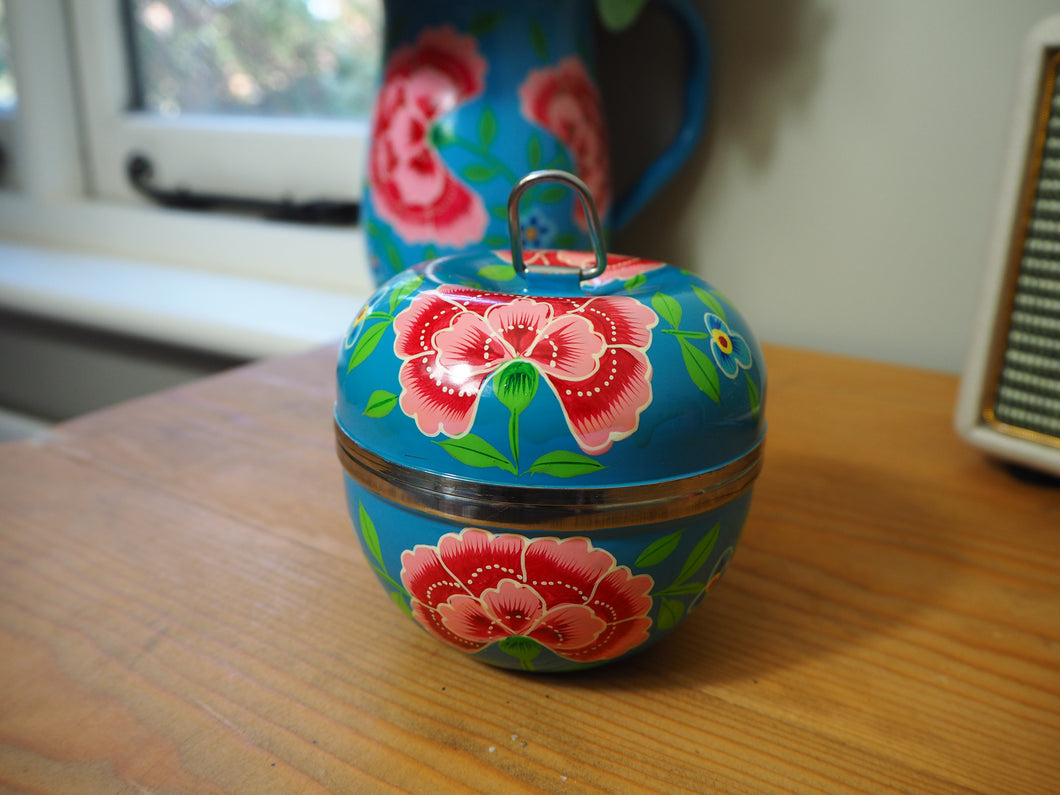 Hand Painted Kashmir Enamelware Floral Apple Jewellery Tin