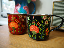 Load image into Gallery viewer, Hand Painted Kashmir Enamelware Large Floral Glamping Mug Set x 2