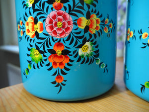 Extra Large Hand Painted Kashmir Enamelware Large Floral Spice Tea Tin Set x 4