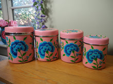 Load image into Gallery viewer, Extra Large Hand Painted Kashmir Enamelware Large Floral Spice Tea Tin Set x 4