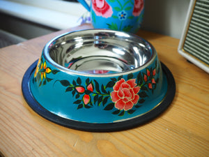 Hand Painted Kashmir Enamelware Floral Dog Water Bowl