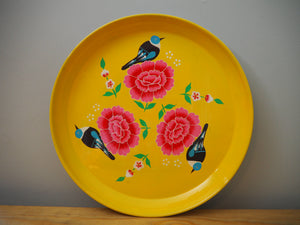 Hand Painted Kashmir Enamelware Floral Kitsch Tray