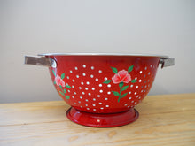 Load image into Gallery viewer, Hand Painted Kashmir Enamelware Floral Kitsch Colander