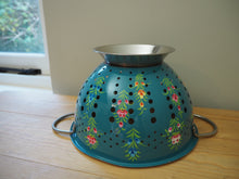 Load image into Gallery viewer, Large Hand Painted Kashmir Enamelware Floral Kitsch Colander