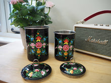 Load image into Gallery viewer, Hand Painted Kashmir Enamelware Floral Kitsch Tea Caddy Set x 2