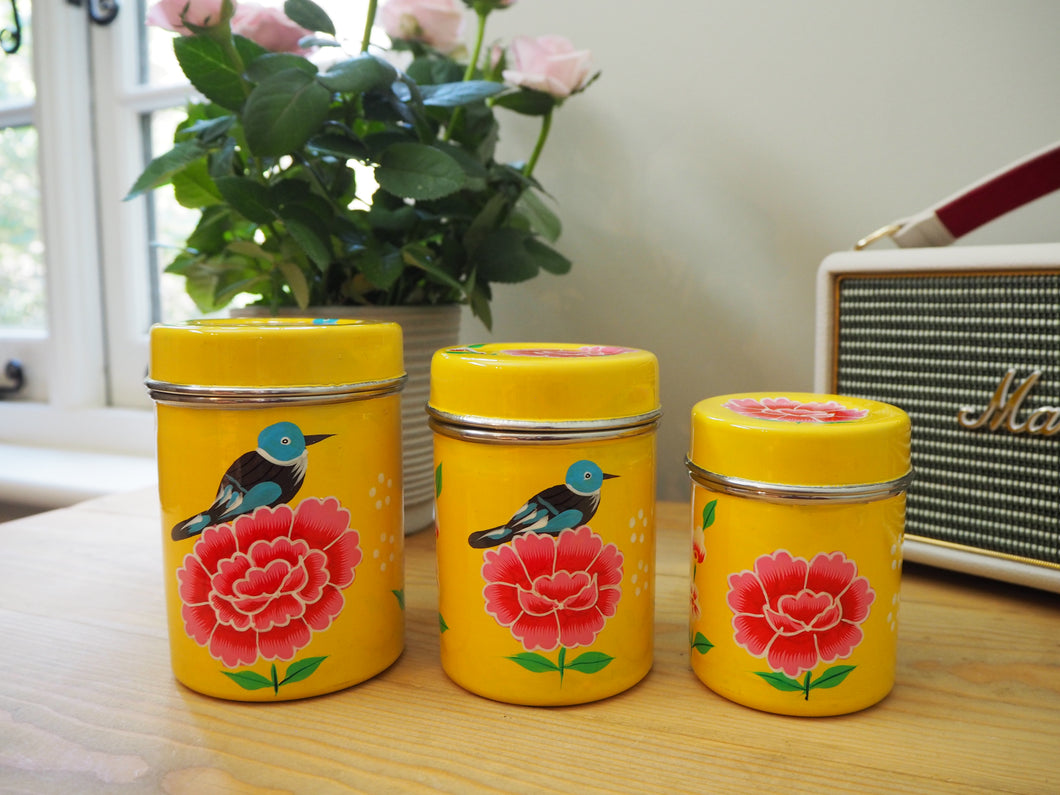 Hand Painted Kashmir Enamelware Floral Kitsch Tea Coffee Sugar Caddy Set x 3