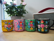 Load image into Gallery viewer, Hand Painted Kashmir Enamelware Large Floral Glamping Mug Set x 4