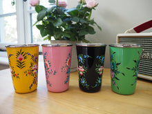Load image into Gallery viewer, Hand Painted Kashmir Enamelware Floral Kitsch Large Tumbler Set x 4
