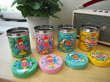 Load image into Gallery viewer, Hand Painted Kashmir Enamelware Large Floral Spice Tea Tin Set x 4