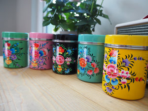 Hand Painted Kashmir Enamelware Large Floral Spice Tea Tin Set x 5